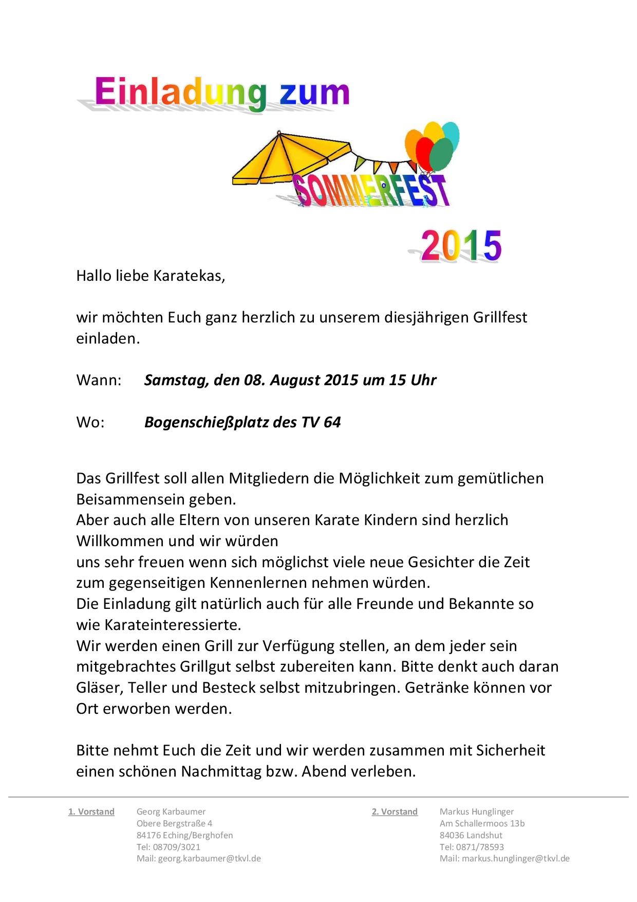 Einladung Zum Sommerfest Tkvl Traditionelles Karate In Landshut