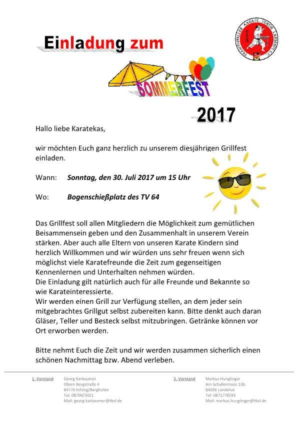 einladung zum sommerfest 2017 - tkvl - traditionelles karate in, Einladung